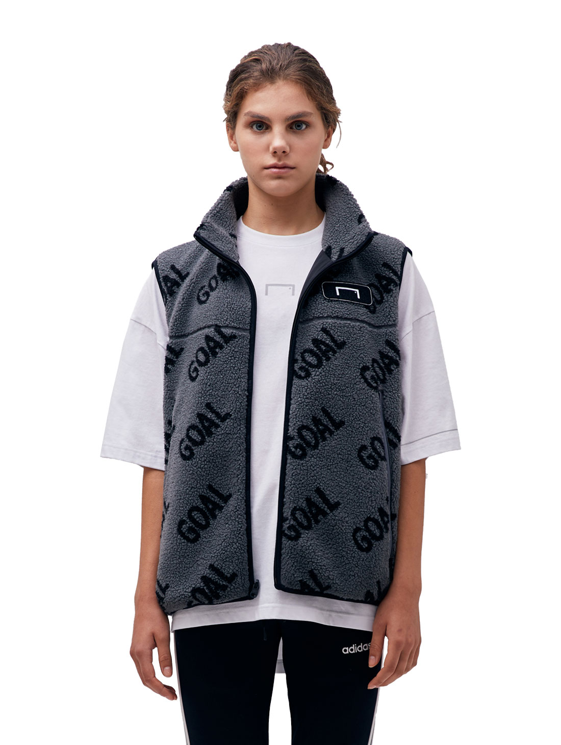 REVERSIBLE FLEECE VEST - GRAY/BLACK