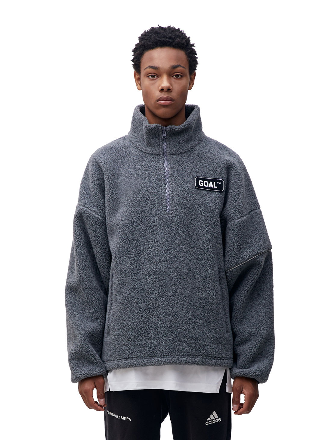 FLEECE ZIP UP PULLOVER - GRAY