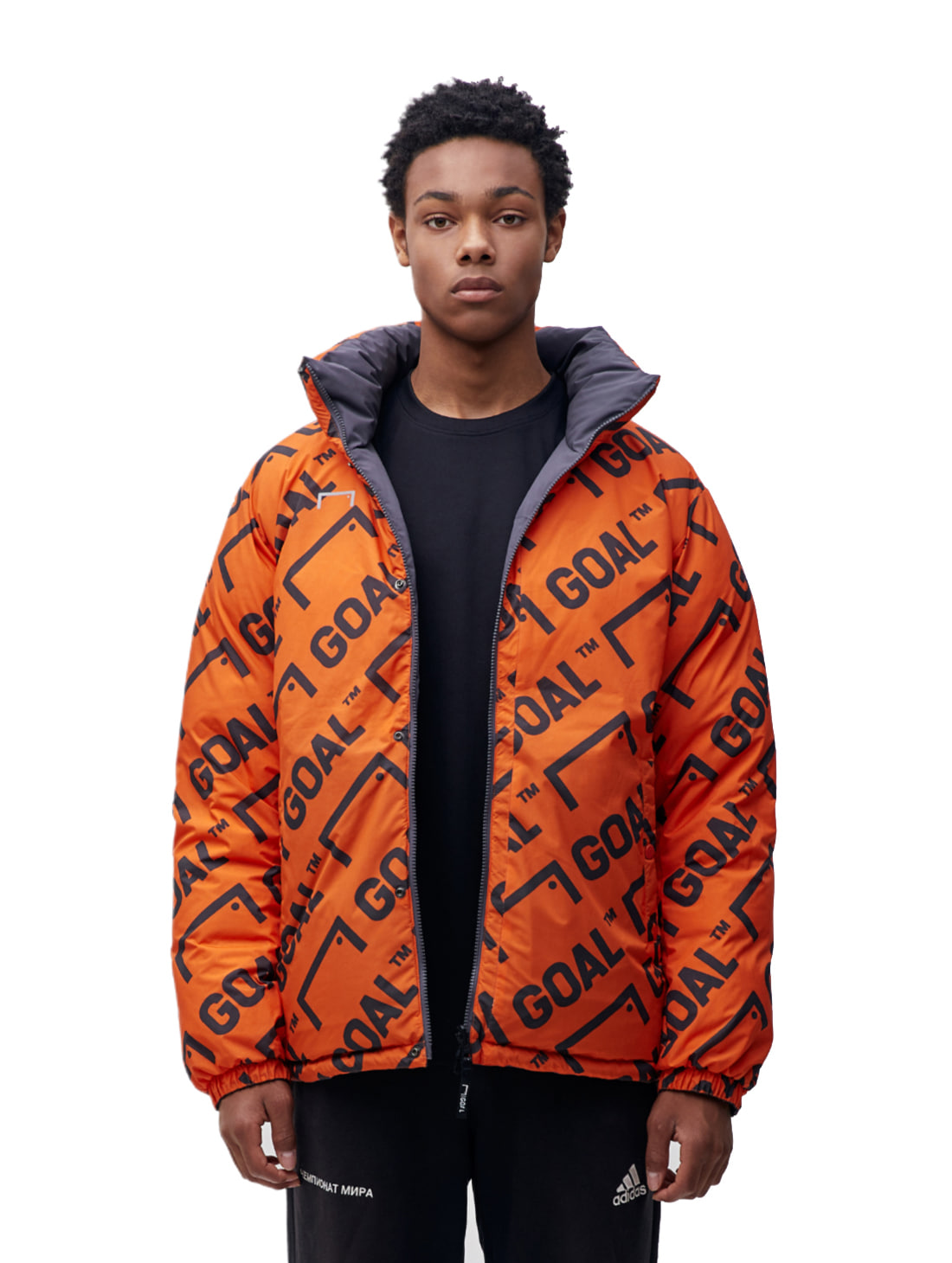 REVERSIBLE DOWN PARKA - GREY/ORANGE