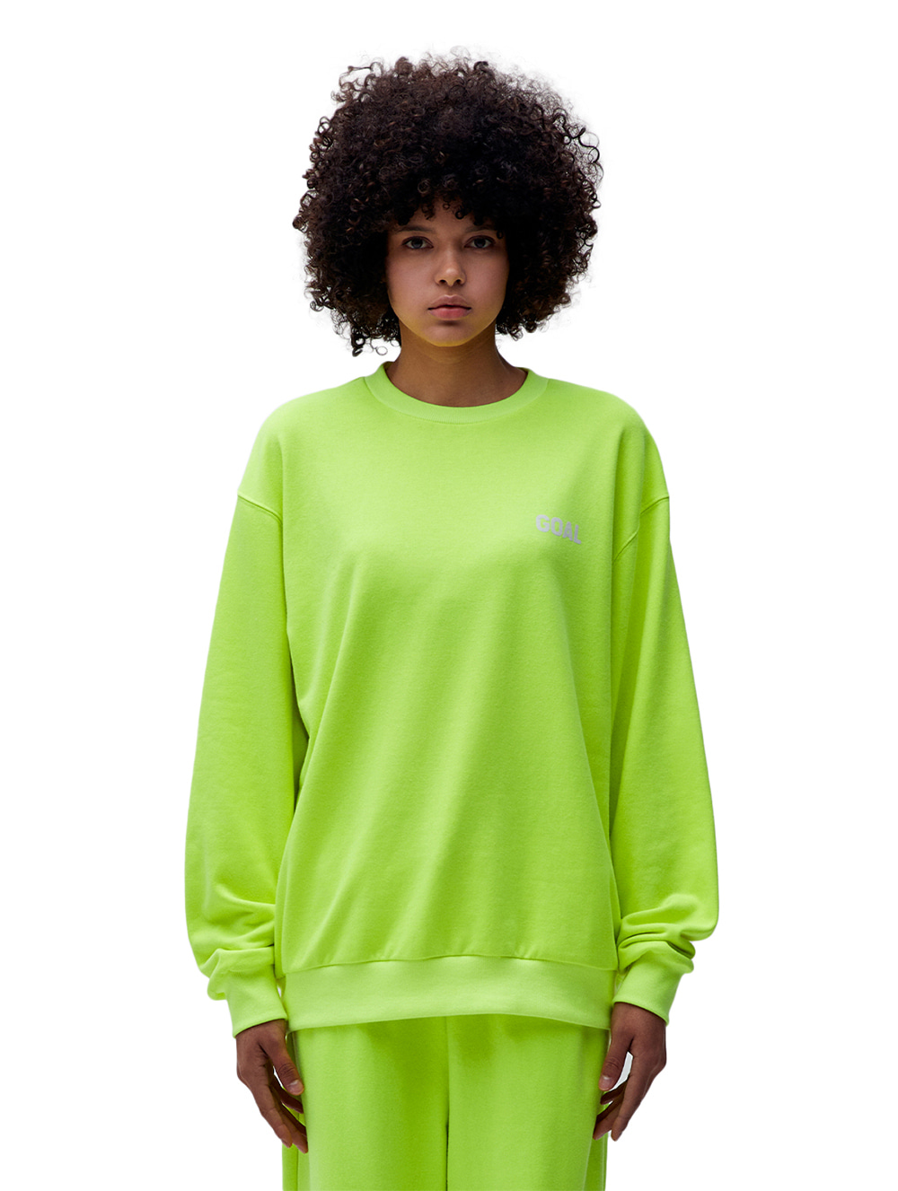 FLOCKING SWEATSHIRT - LIME YELLOW