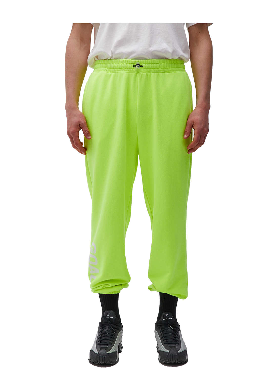 FLOCKING KNIT JOGGER PANTS - LIME YELLOW