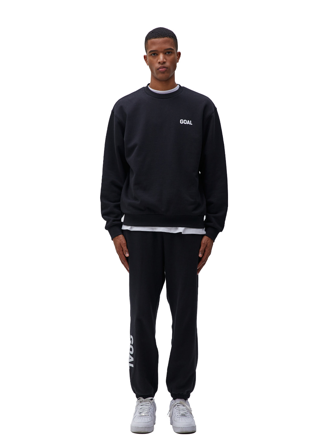 [10% OFF] FLOCKING SWEATSHIRT & PANTS SET - BLACK