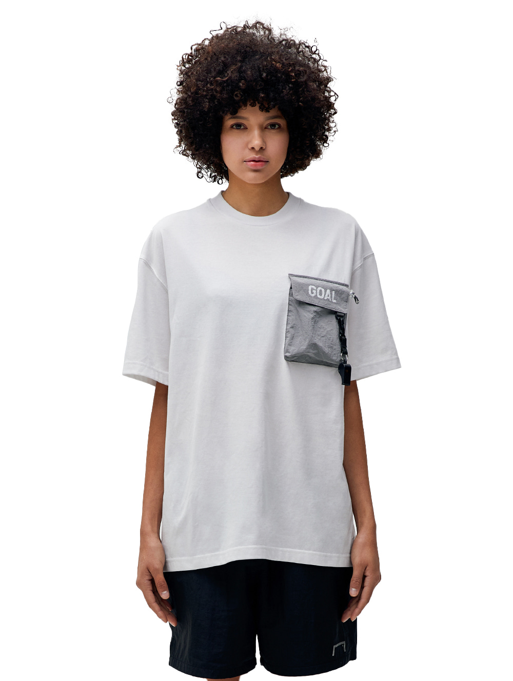 NYLON METAL POCKET SHORT SLEEVE TEE - WHITE