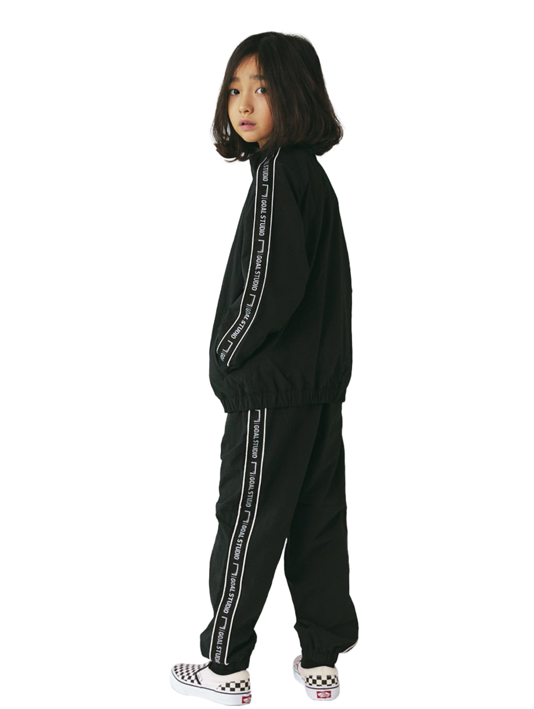 [10% OFF] (KIDS) SMALL LOGO TRACK JACKET & PANTS SET - BLACK