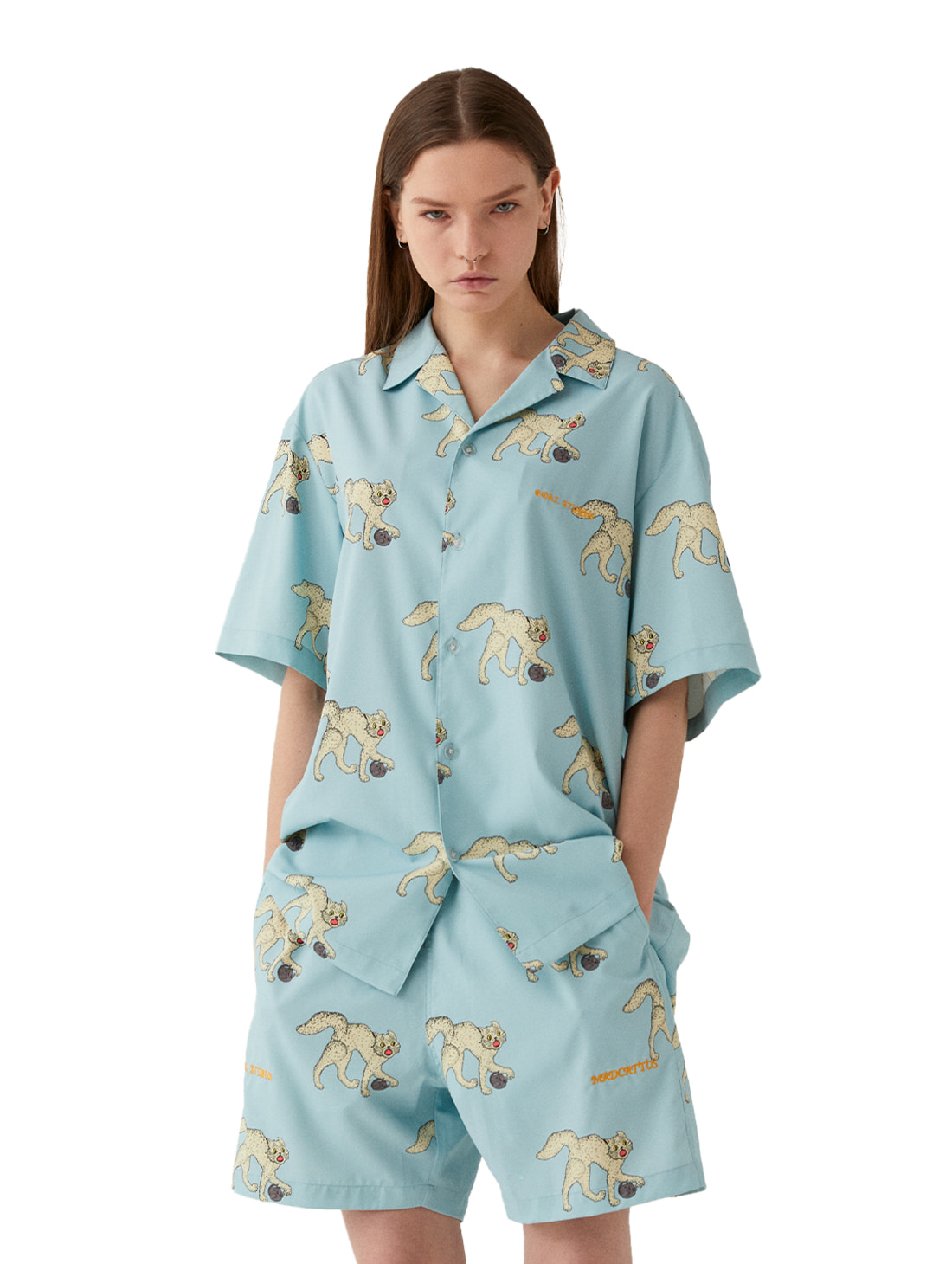 MC ALL OVER PATTERN HALF SHIRTS - LIGHT BLUE