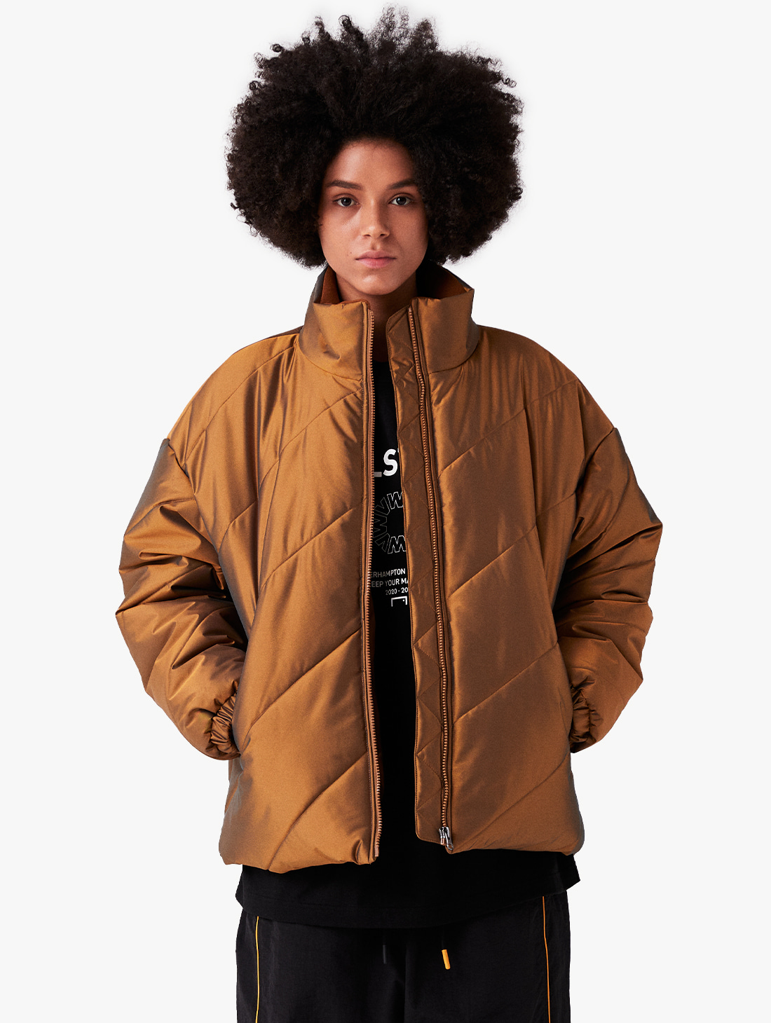 WWFC DIAGONAL TWO TONE PADDED JACKET