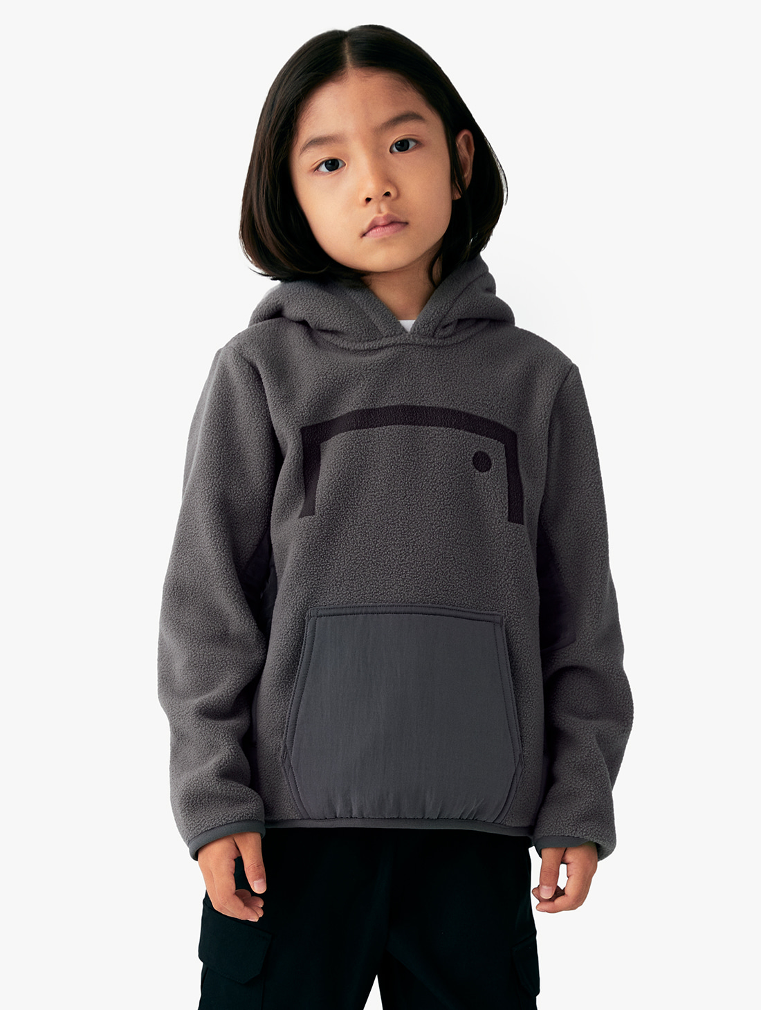 (KIDS) NYLON METAL MIXED FLEECE HOODIE (2 Colors)