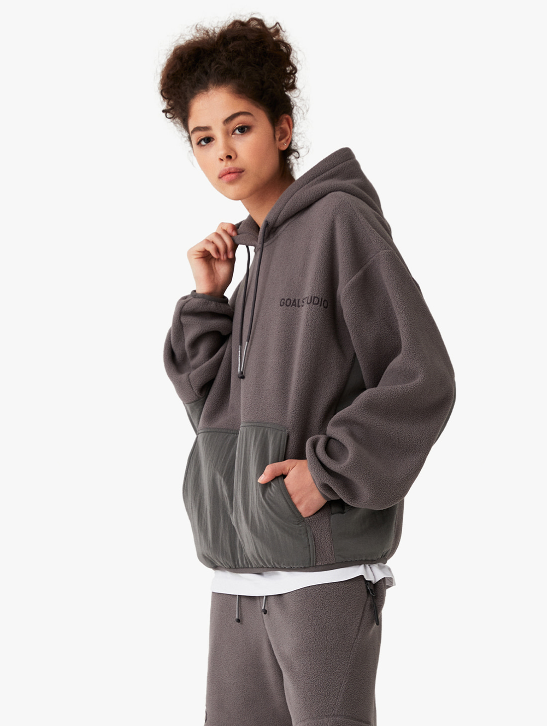 NYLON METAL MIXED FLEECE HOODIE (2 Colors)