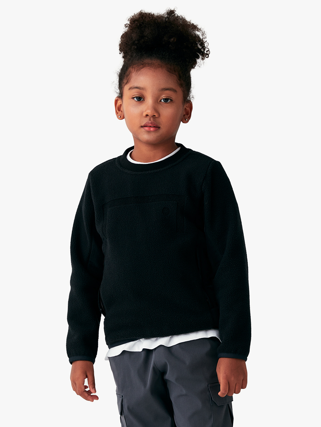 (KIDS) NYLON METAL MIXED FLEECE SWEATSHIRT (2 Colors)