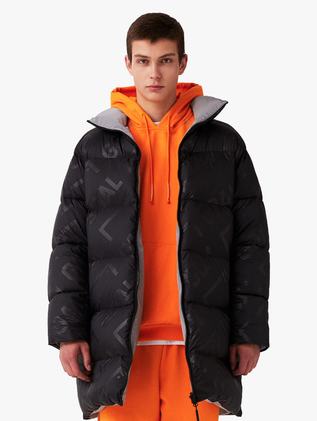 REVERSIBLE GOOSE LONG DOWN JACKET - BLACK