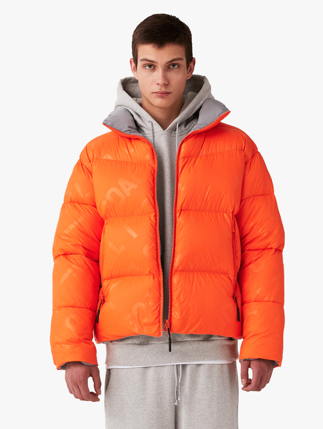 REVERSIBLE GOOSE SHORT DOWN JACKET - ORANGE