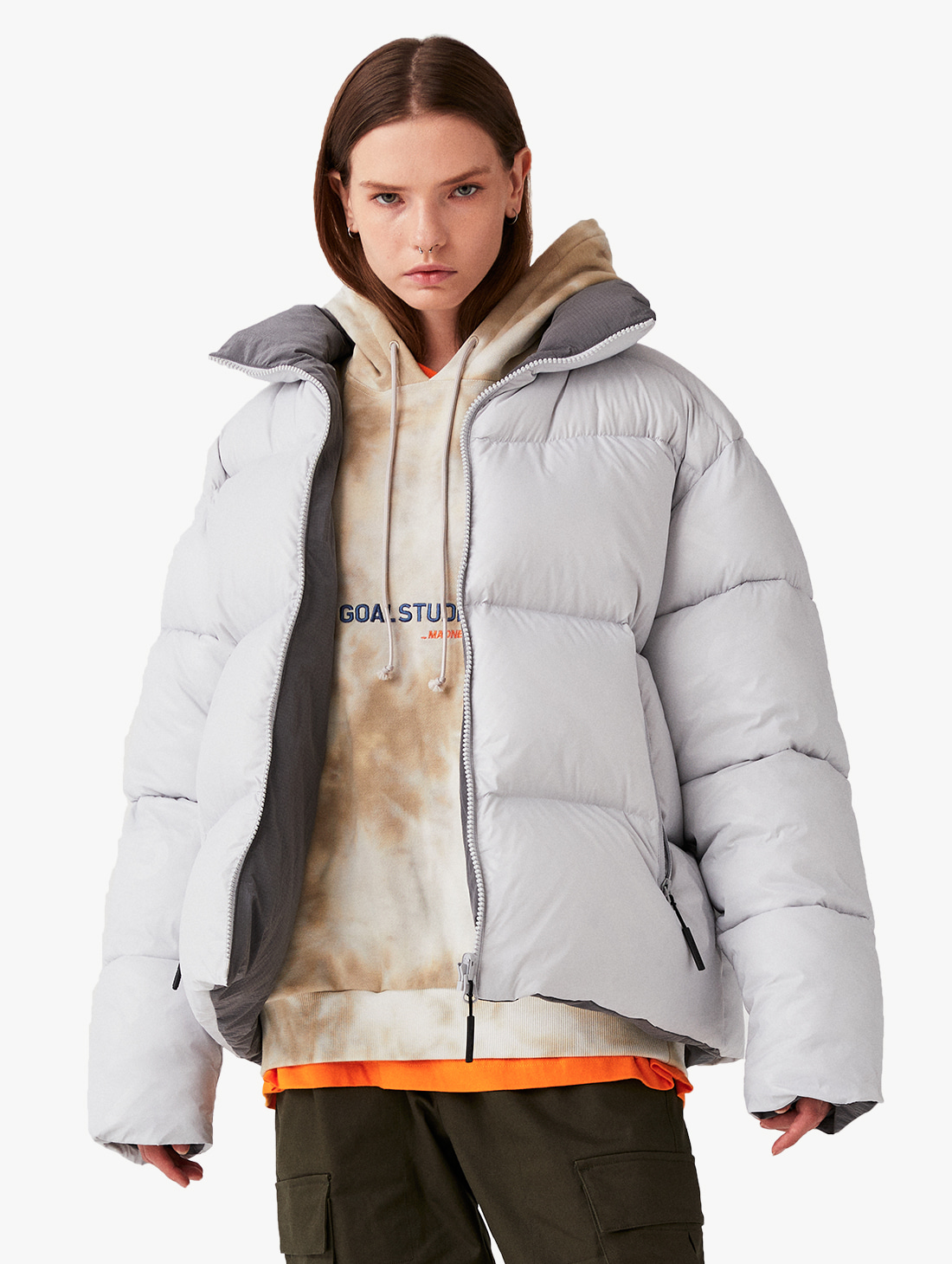 REVERSIBLE GOOSE SHORT DOWN JACKET - GREY