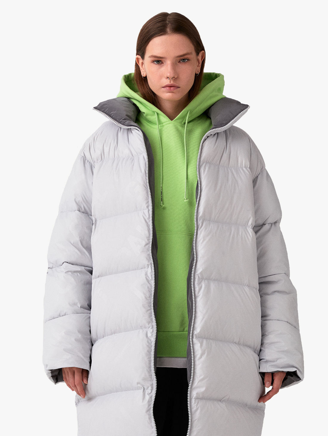REVERSIBLE GOOSE LONG DOWN JACKET - GREY