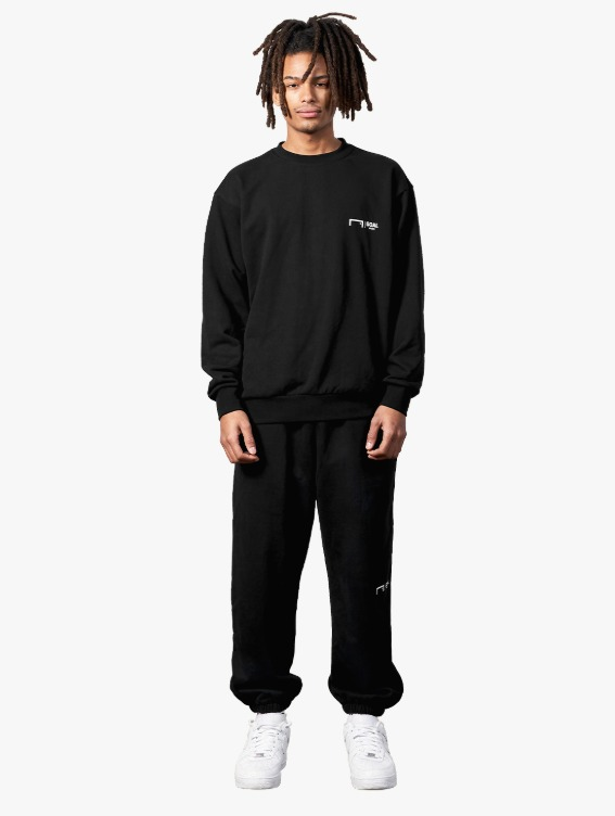 [10% OFF] SIGNATURE LOGO SWEATSHIRT & PANTS SET - BLACK