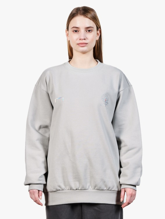 PEARL BALL PATCH SWEATSHIRT - LIGHT GREY