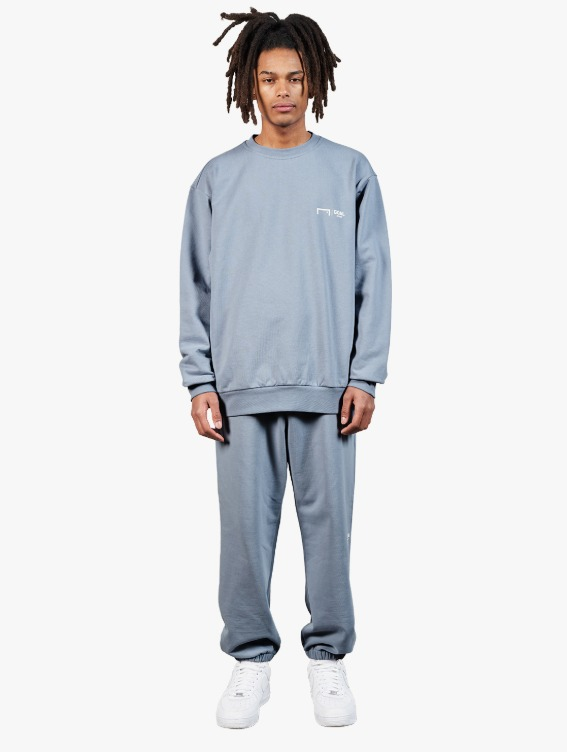 [10% OFF] SIGNATURE LOGO SWEATSHIRT & PANTS SET - BLUE GREY