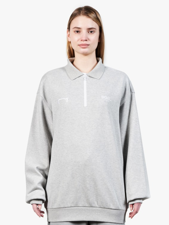 LOGO LONG SLEEVE POLO SHIRT - MELANGE GREY