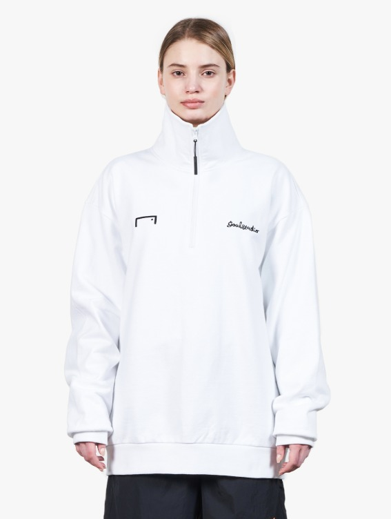 HEART BALL HALF ZIP-UP - WHITE