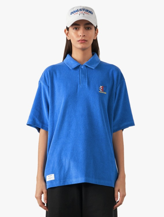 FREE KICK CAPSULE TERRY POLO SHIRT - BLUE