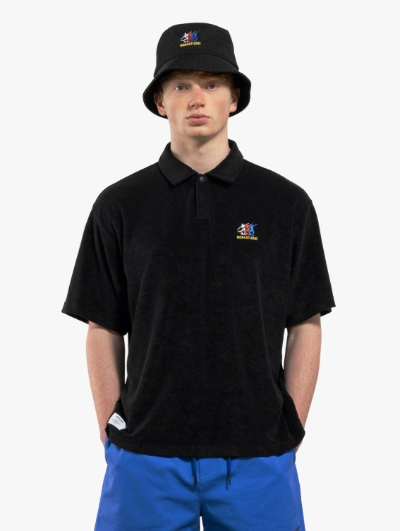 FREE KICK CAPSULE TERRY POLO SHIRT - BLACK