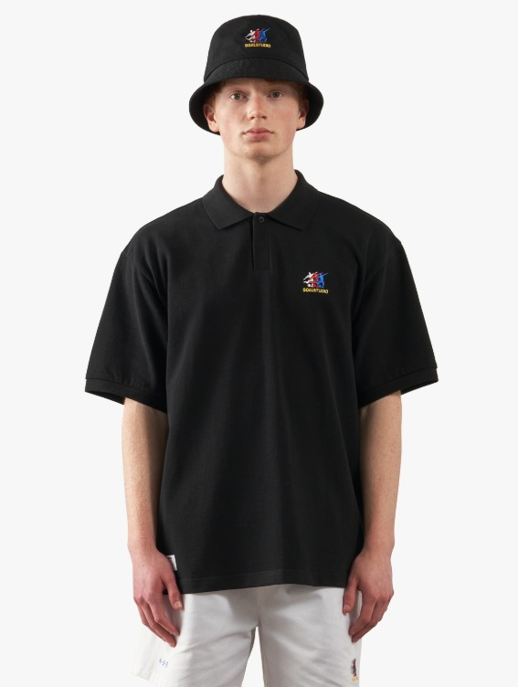 FREE KICK CAPSULE PIQUE POLO SHIRT - BLACK