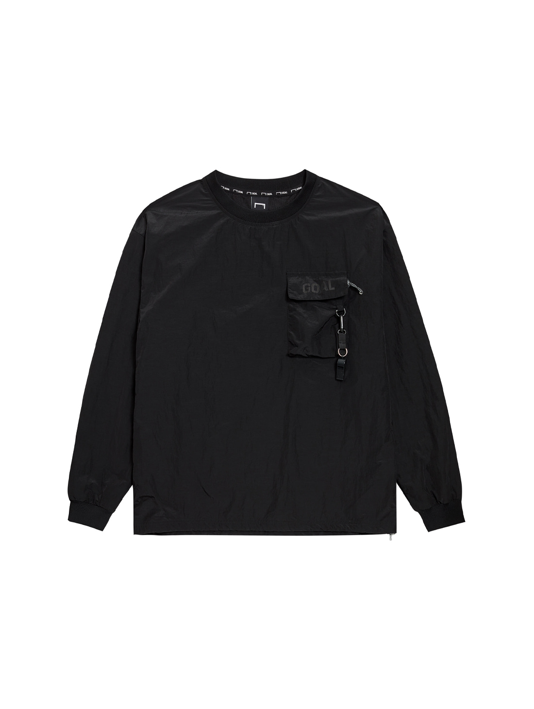 NYLON METAL POCKET LONG SLEEVE TEE - BLACK