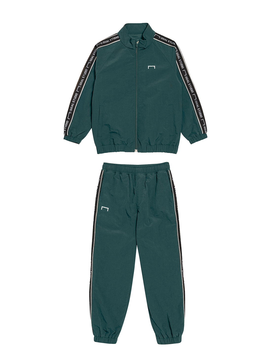 [10% OFF] (KIDS) SMALL LOGO TRACK JACKET & PANTS SET - DARK GREEN