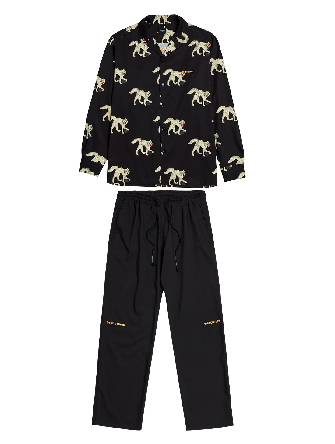 [10% OFF] MC ALL OVER PATTERN SHIRTS & PANTS SET - BLACK