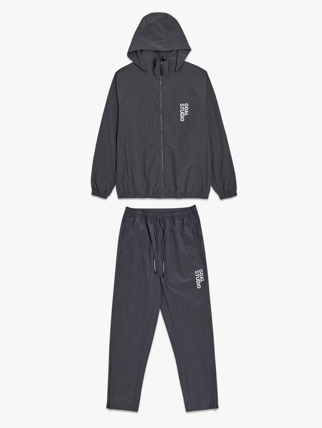 [10% OFF] NYLON BLEND WIND BREAKER & WOVEN PANTS SET