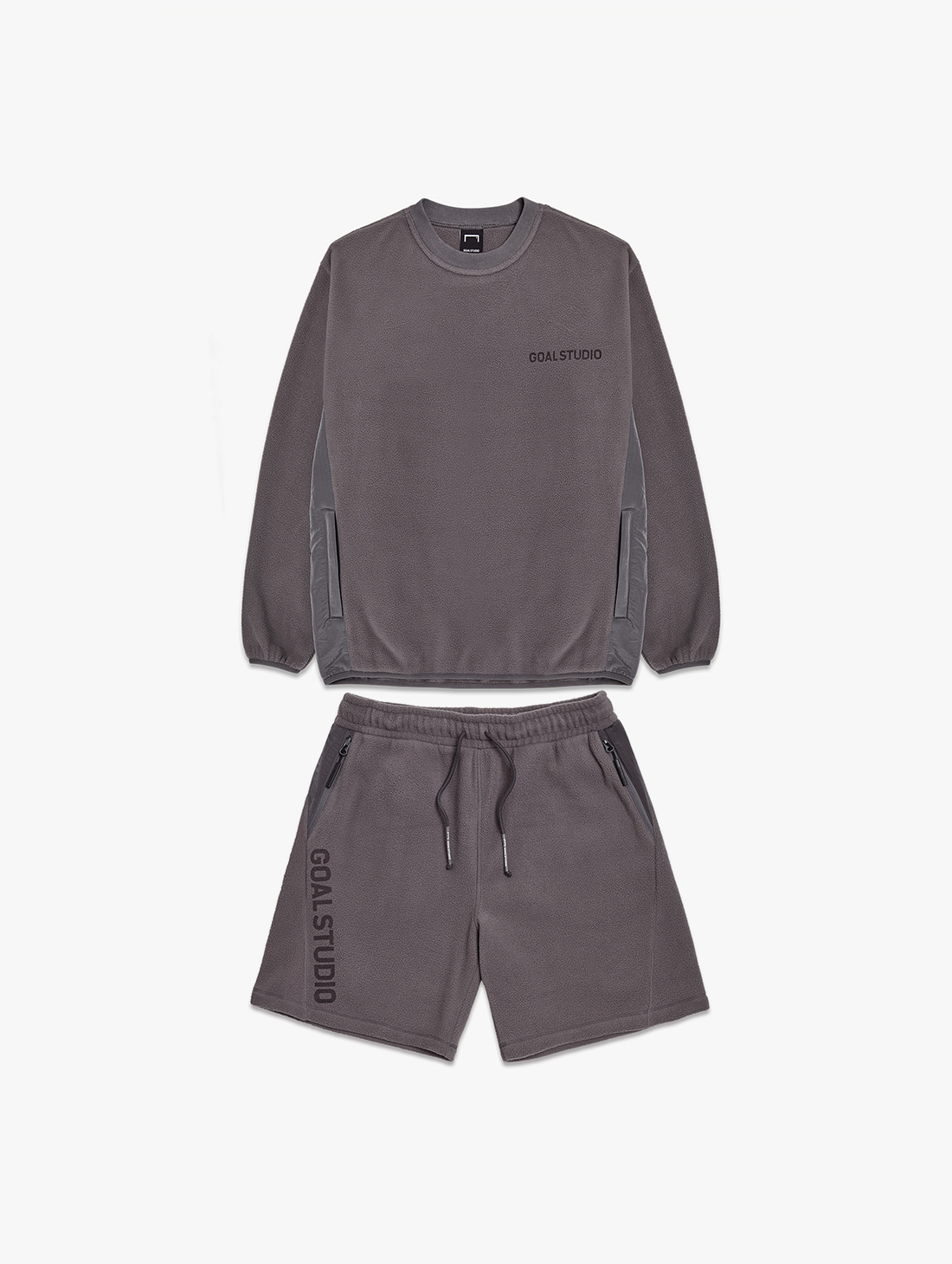 [10% OFF] NYLON METAL MIXED FLEECE SWEATSHIRTS & SHORTS SET