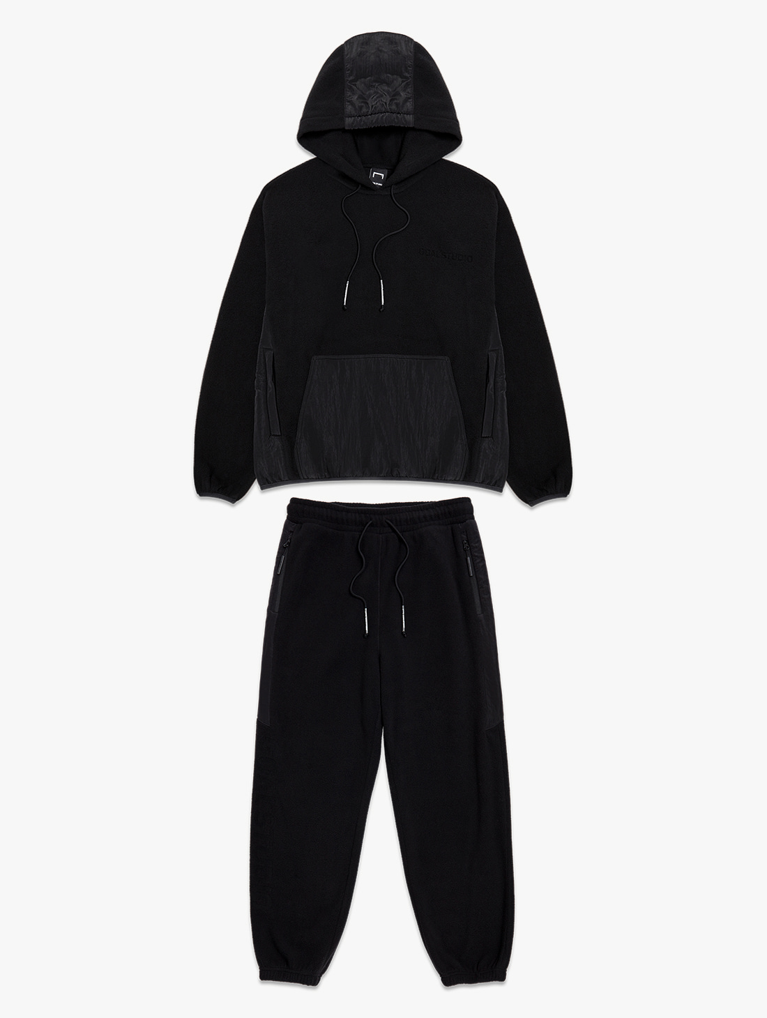[10% OFF] NYLON METAL MIXED FLEECE HOODIE & LONG PANTS SET