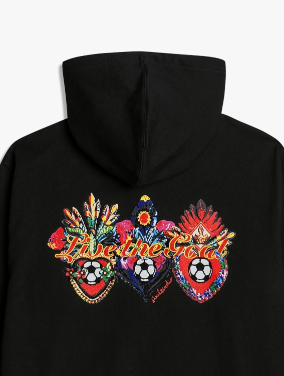 HEART BALL GRAPHIC HOODIE - BLACK
