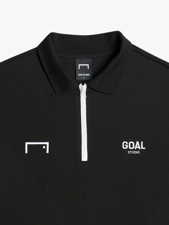 LOGO LONG SLEEVE POLO SHIRT - BLACK