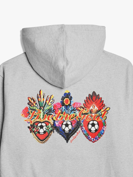 HEART BALL GRAPHIC HOODIE - MELANGE GREY