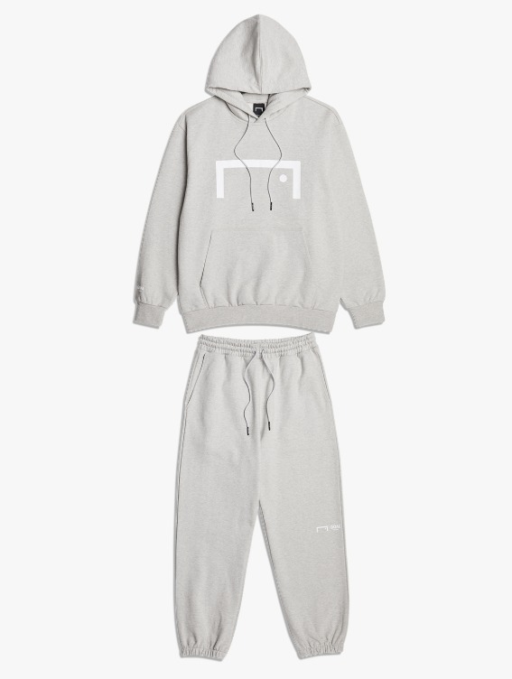 [10% OFF] SIGNATURE LOGO HOODIE & PANTS SET - MELANGE GREY