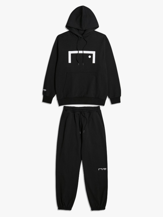 [10% OFF] SIGNATURE LOGO HOODIE & PANTS SET - BLACK