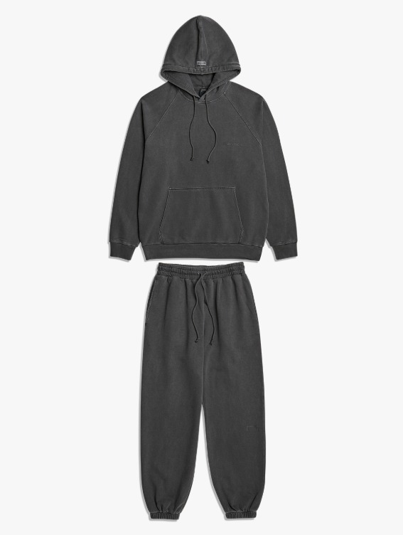 [10% OFF] PIGMENT DYE HOODIE & JOGGER PANTS SET - DARK GREY