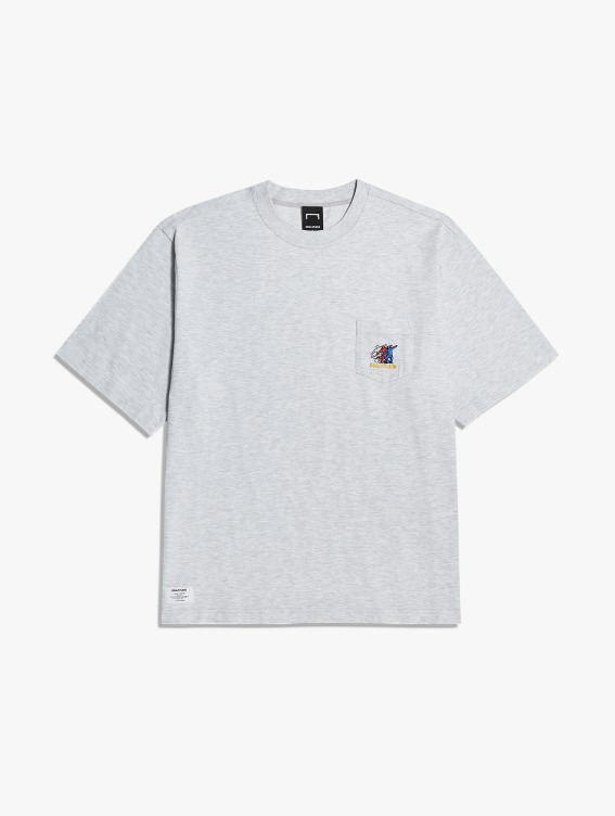 FREE KICK CAPSULE POCKET TEE - MELANGE GREY