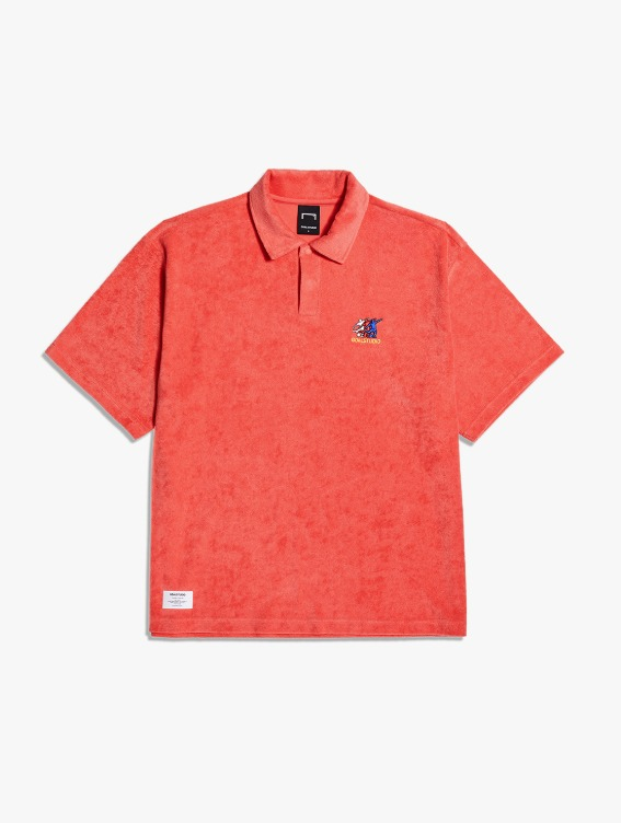 FREE KICK CAPSULE TERRY POLO SHIRT - CORAL RED